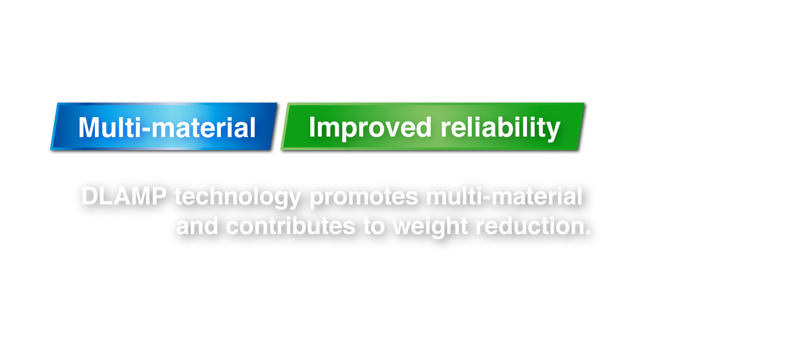 DLAMP technology promotes multi-material and contributes to weight reduction.